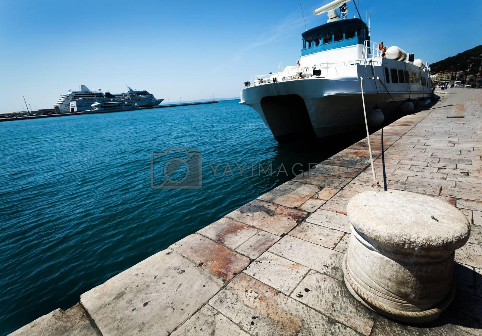 Croatia - big ferryboat anchored in a harbor Split.