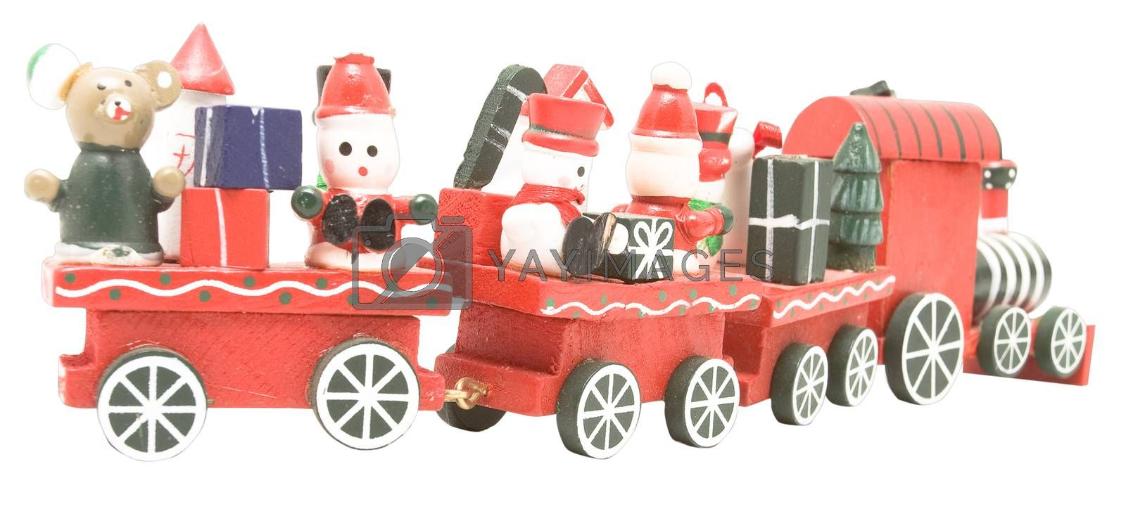 Isolated toy train that can be used for any ages gift concept.