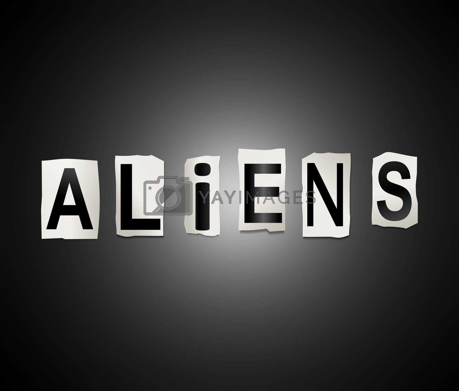 Illustration depicting a set of cut out printed letters arranged to form the word aliens.