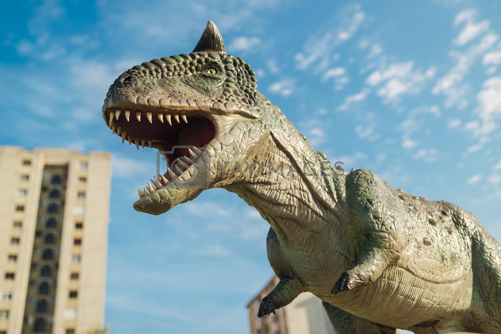 NOVI SAD, SERBIA - AUGUST 7, 2016: Carnotaurus life size model of prehistoric animal in theme entertainment Dino Park. This was bipedal predator, measuring 8 to 9 m.