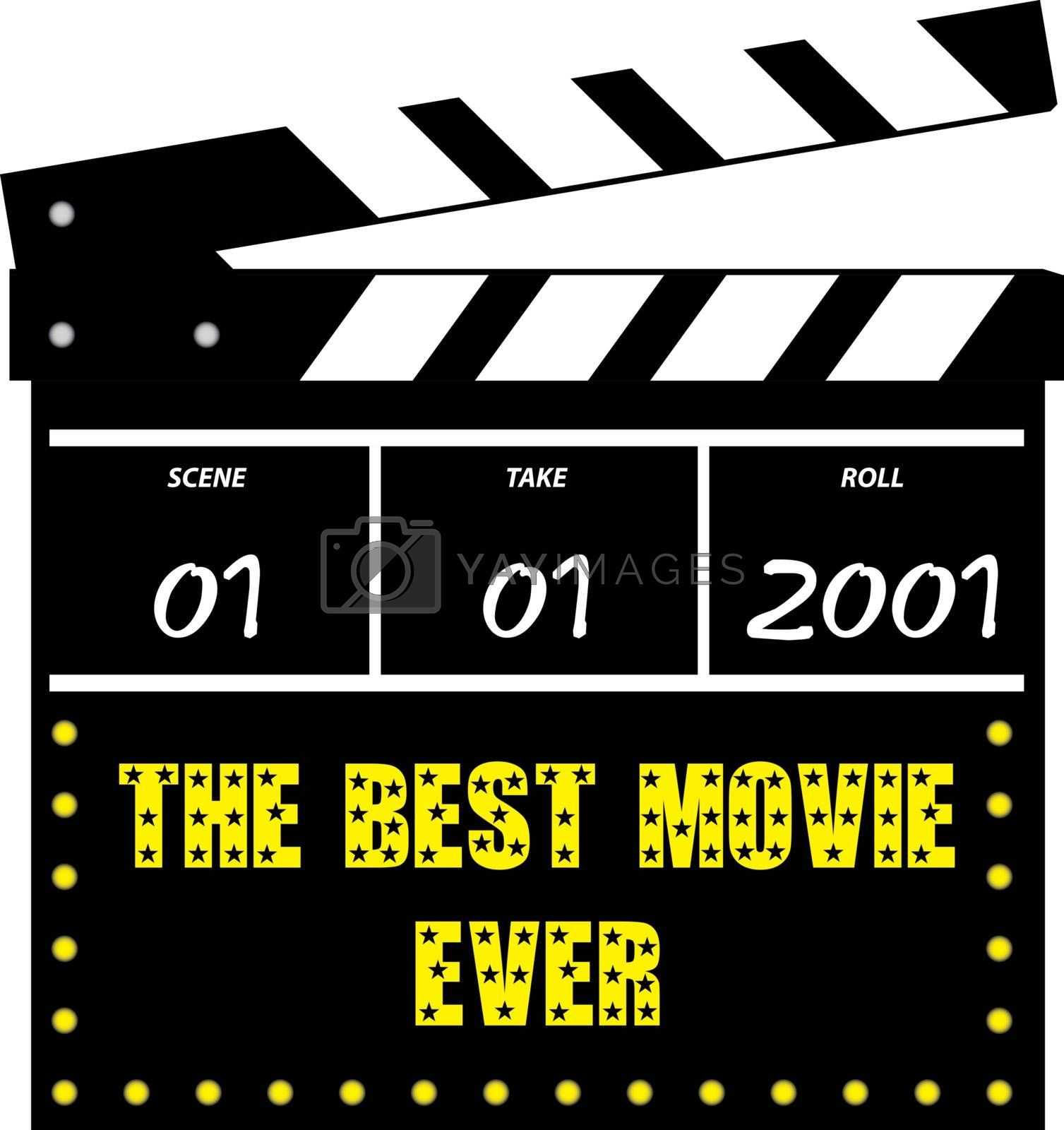 Vector illustration of a film or movie clapperboard on white background