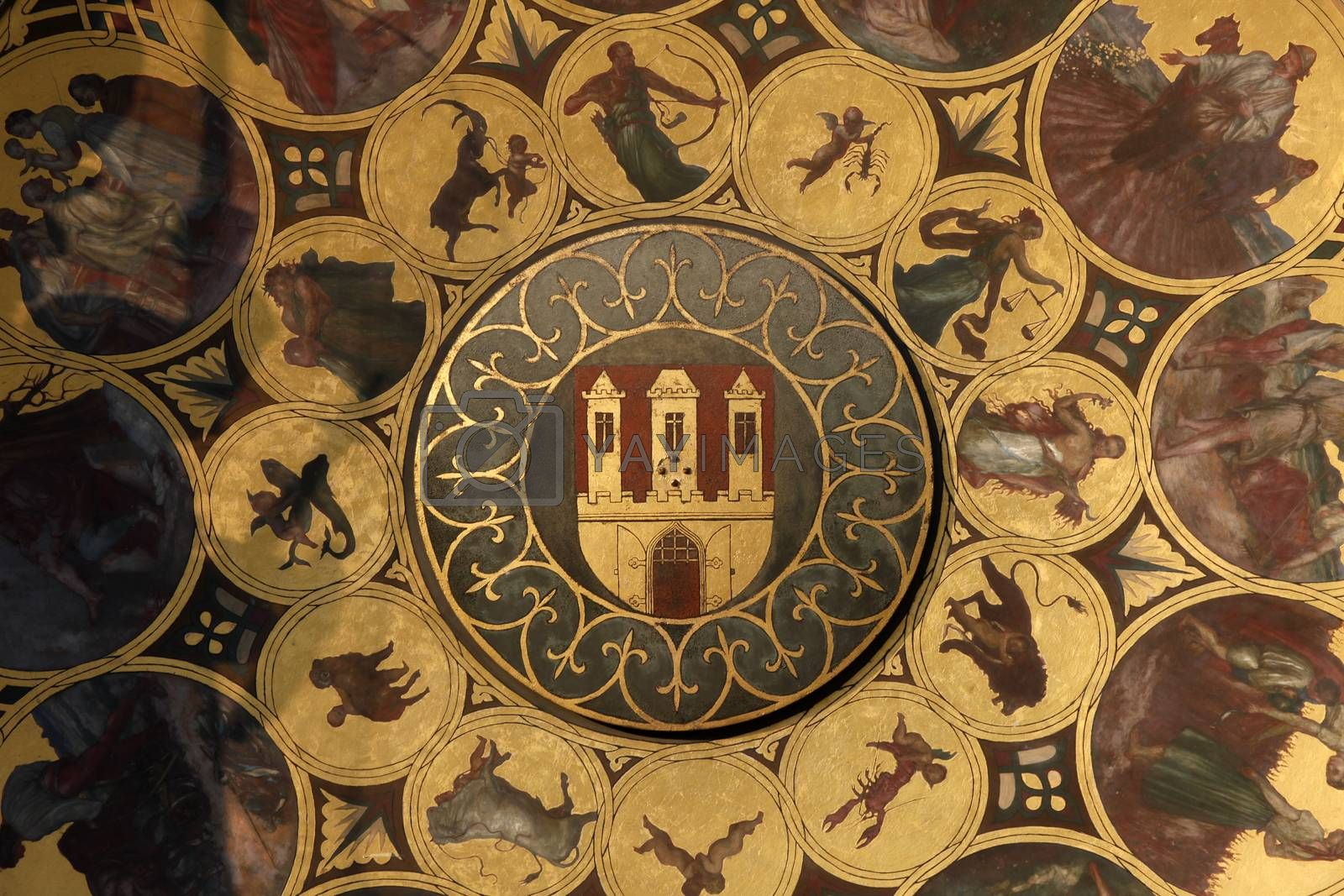 Famous medieval astronomical clock in Prague by atlas