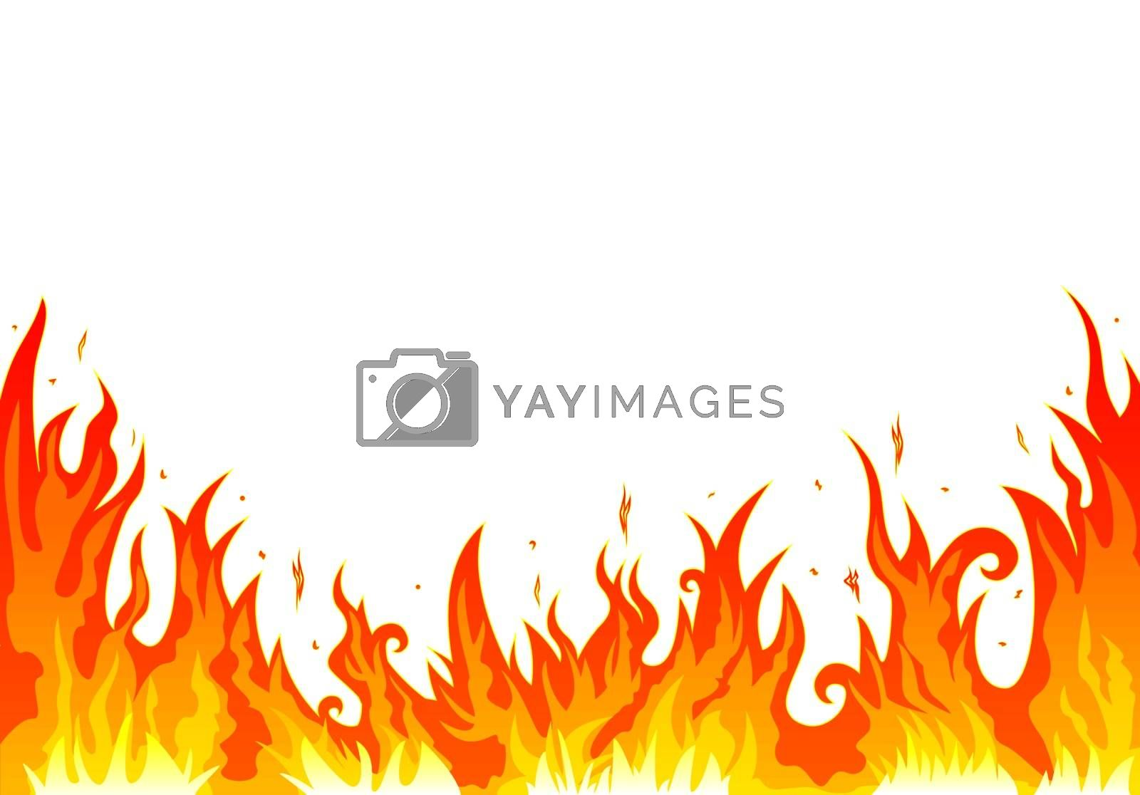 Flames burning fire.  Abstract fire on a white background.