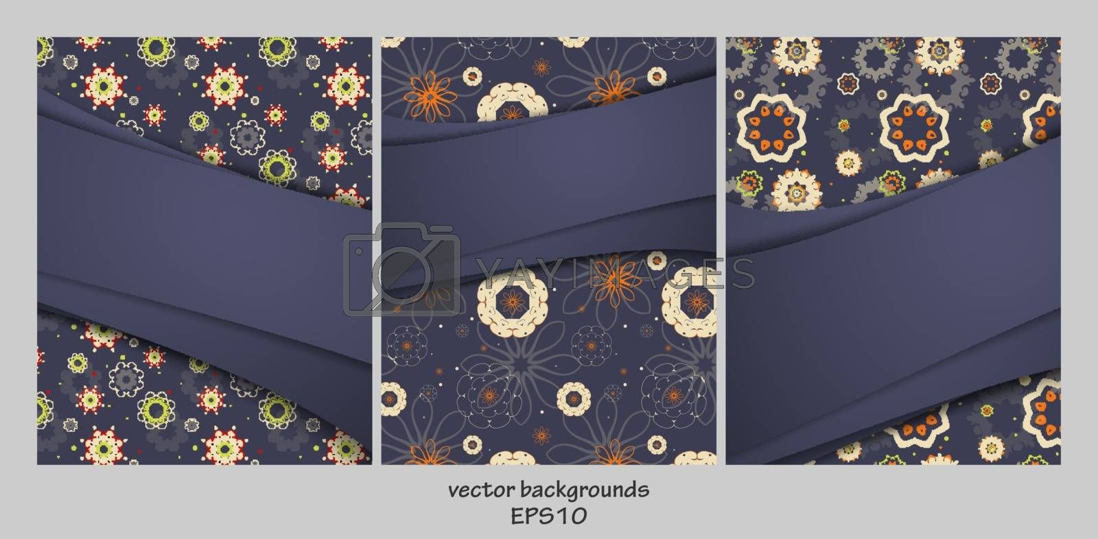 Vector backgrounds set over floral seamless. For flyers, brochures and websites. Elements for your design. Eps10
