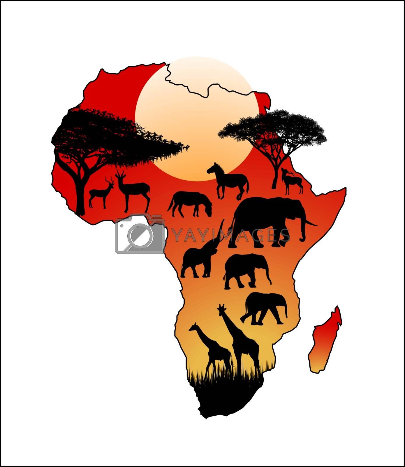 Wild animals on the background of the  African continent. The continent of Africa and wild animals savanna.