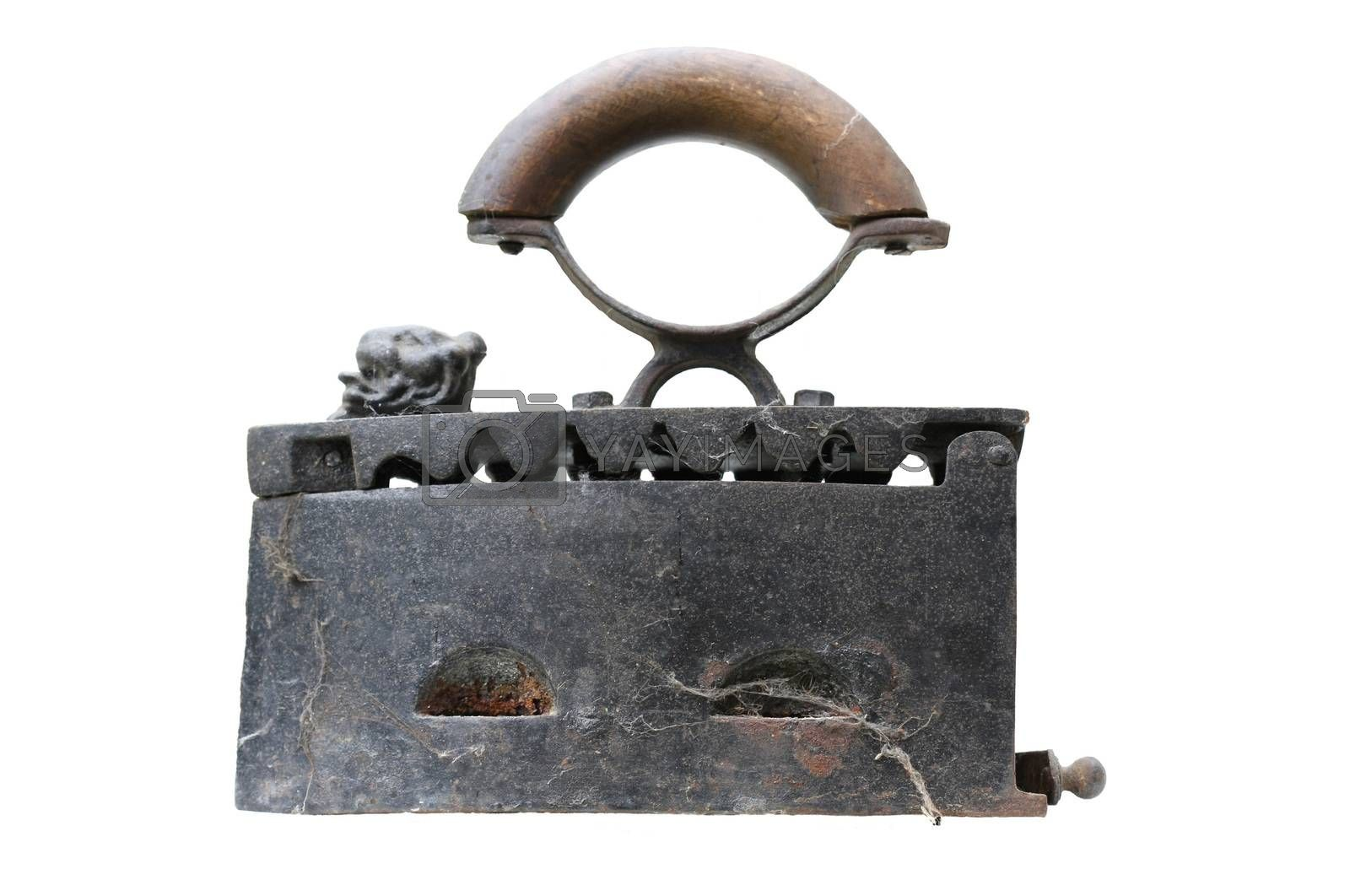 Old iron for which a coal was used for warming