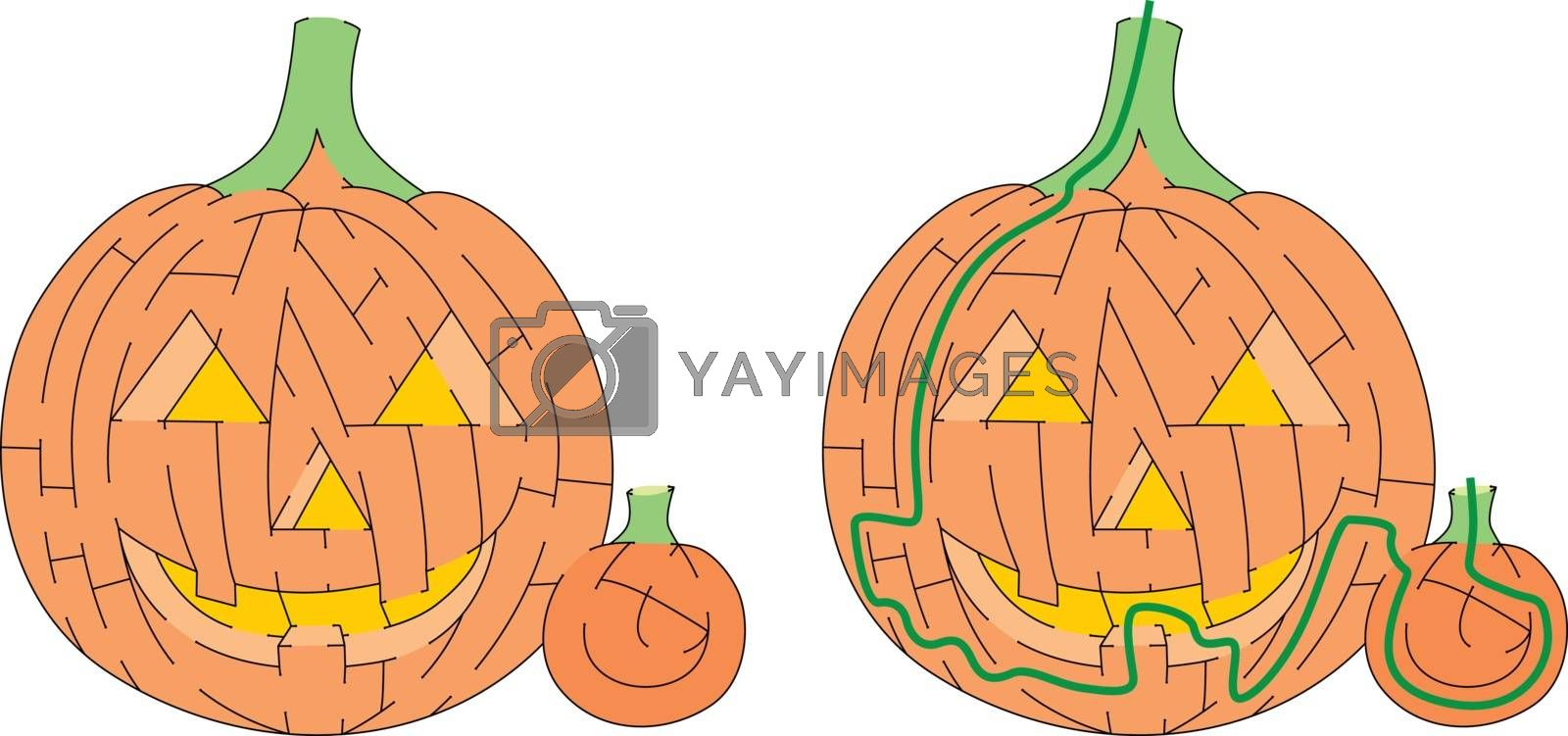 Jack O' Lantern maze for kids with a solution