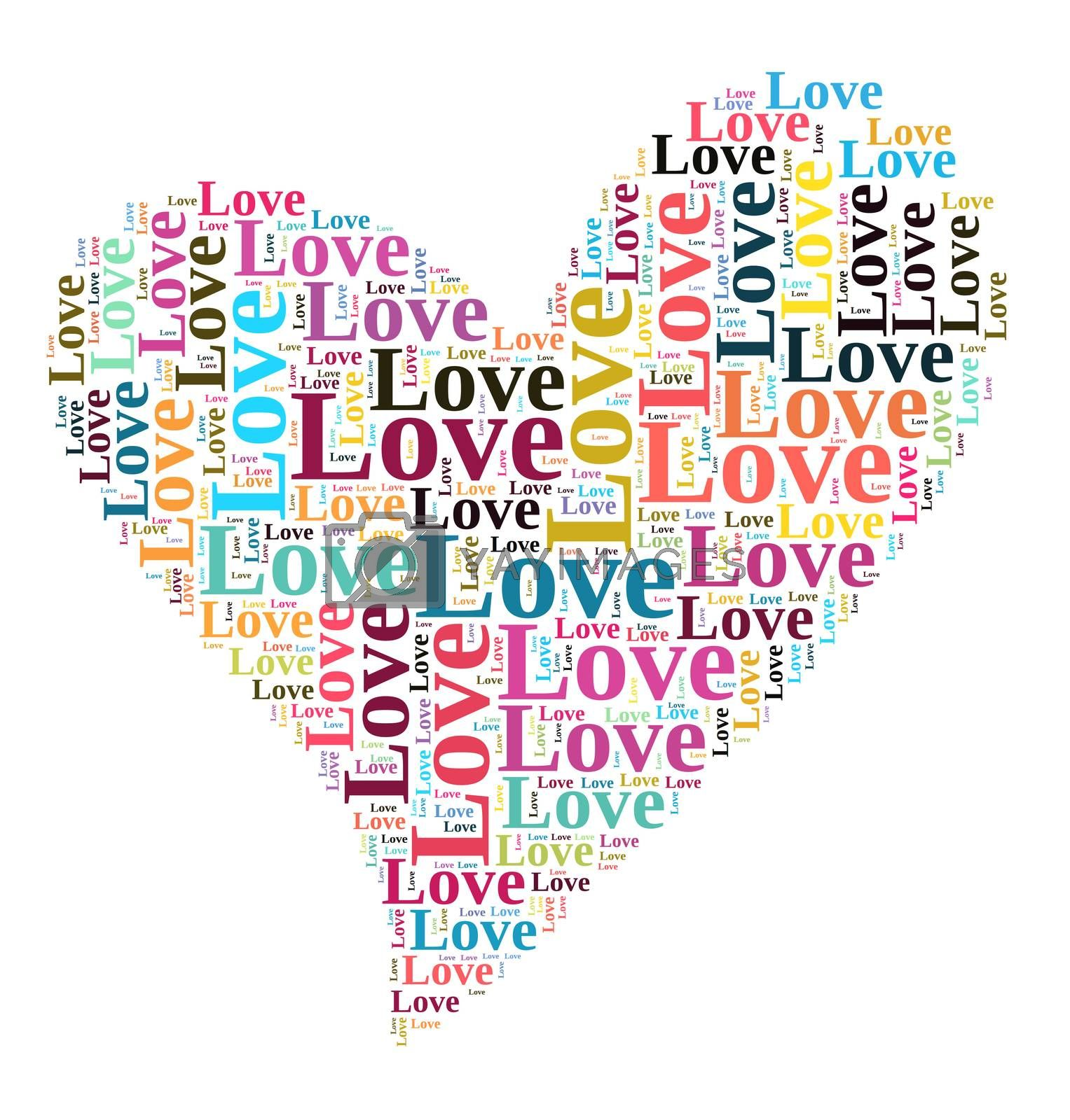 Valentines day card word cloud concept by eenevski