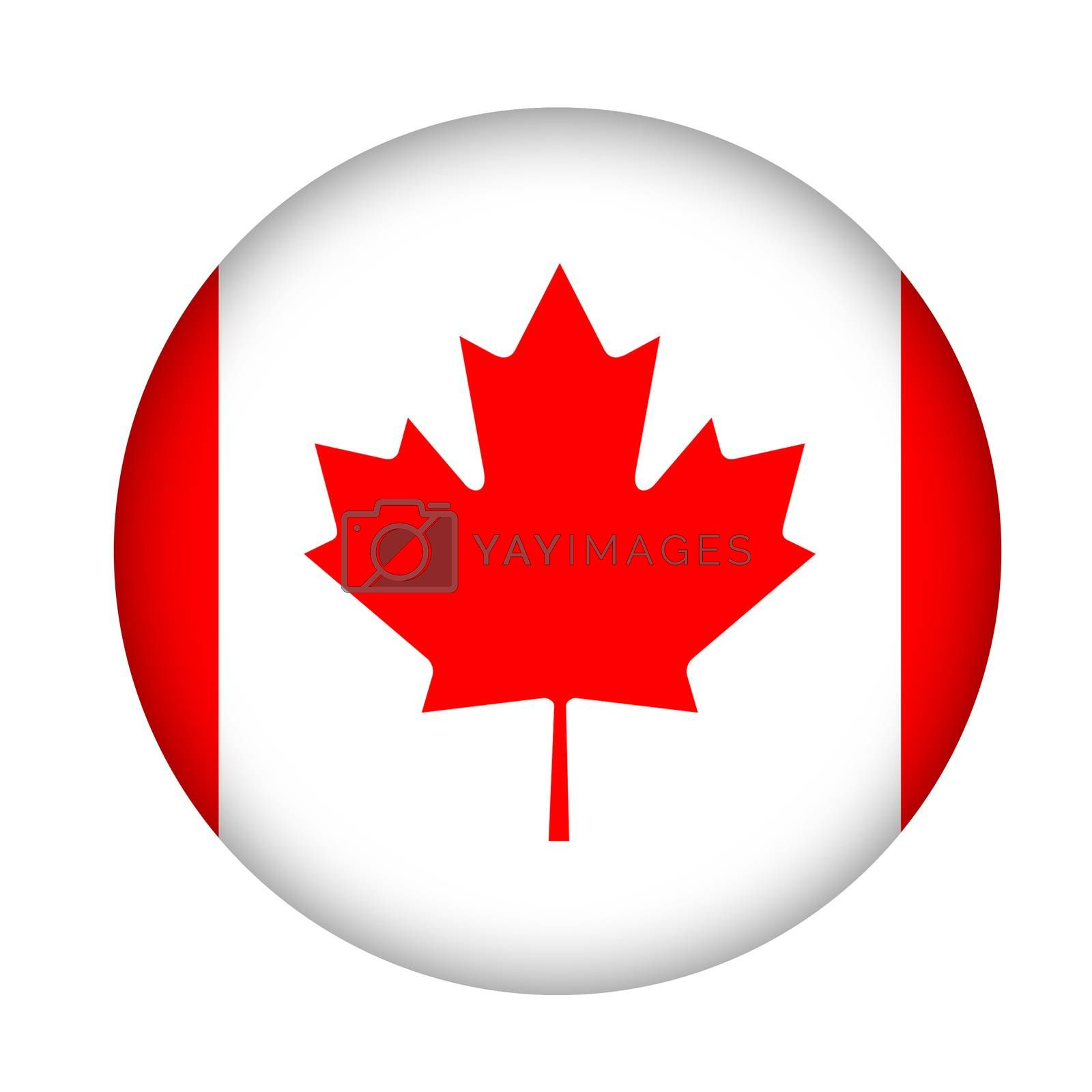 Canada flag button isolated on a white background.