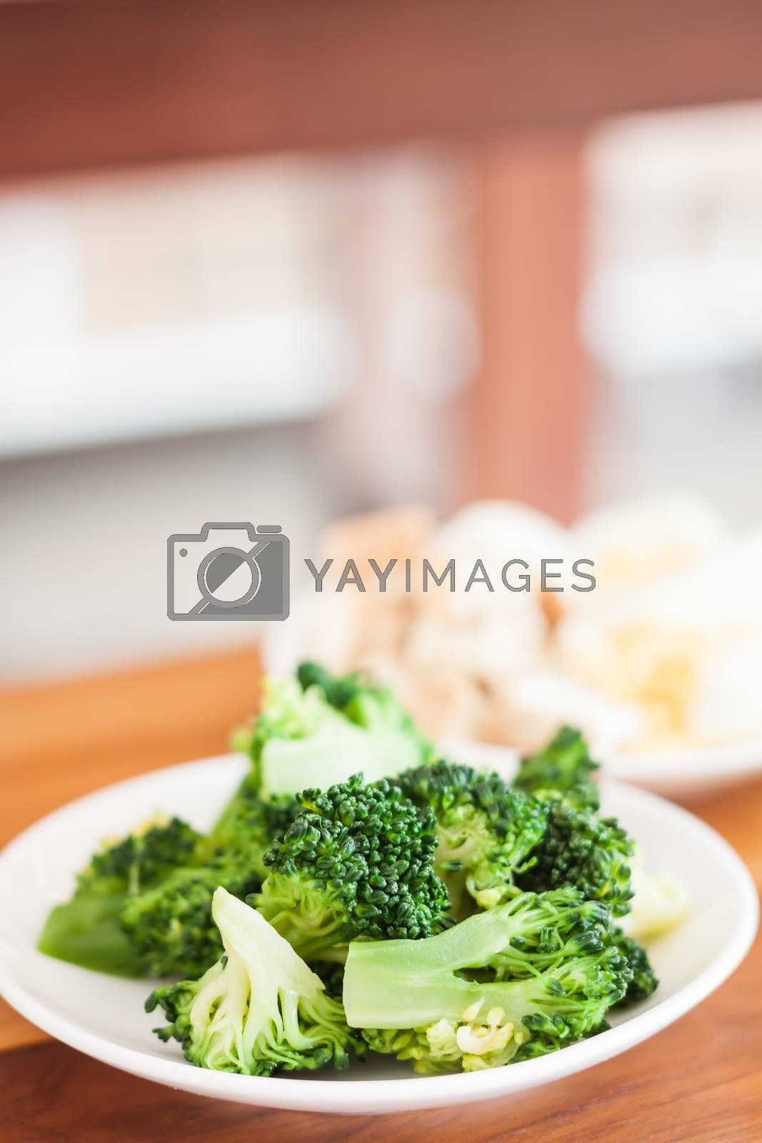 Fresh hydroponic vegetables on wooden table, stock photo
