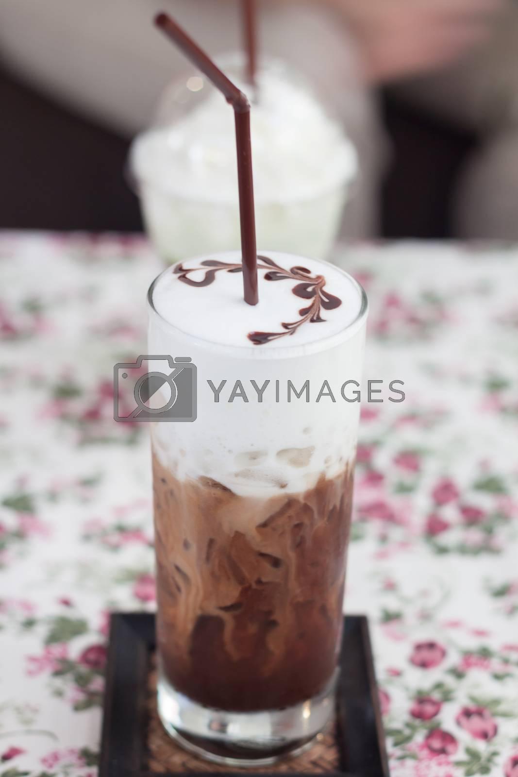 Iced mocha with milk micro foam, stock photo