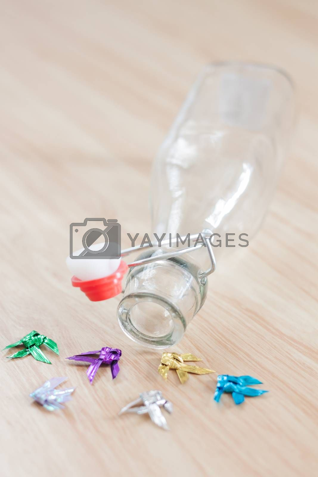 Vintage water bottle on wooden background, stock photo