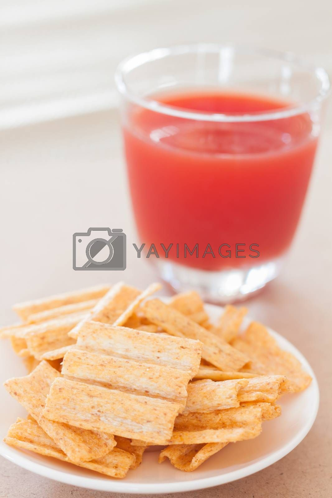 Snack on white plate with fruit punch, stock photo