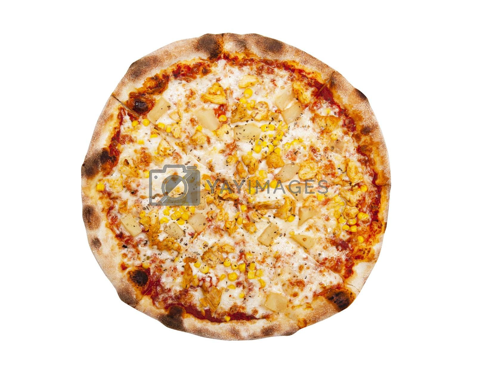 Pizza wish tuna fish and pineapple isolated on the white background
