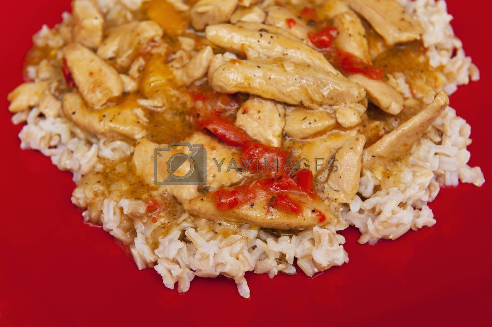 Meat with rice on the red plate