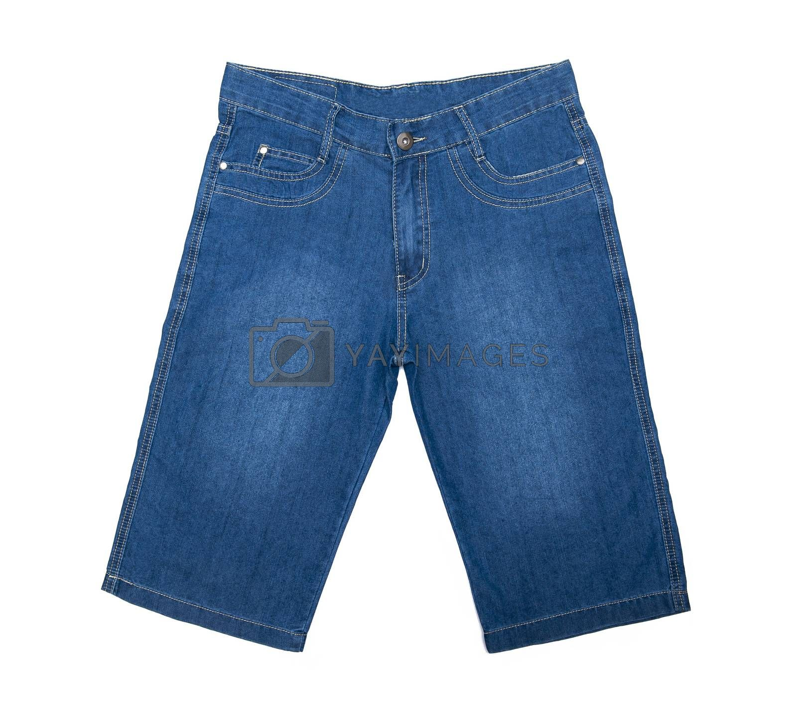 Jeans shorts isolated on the white background