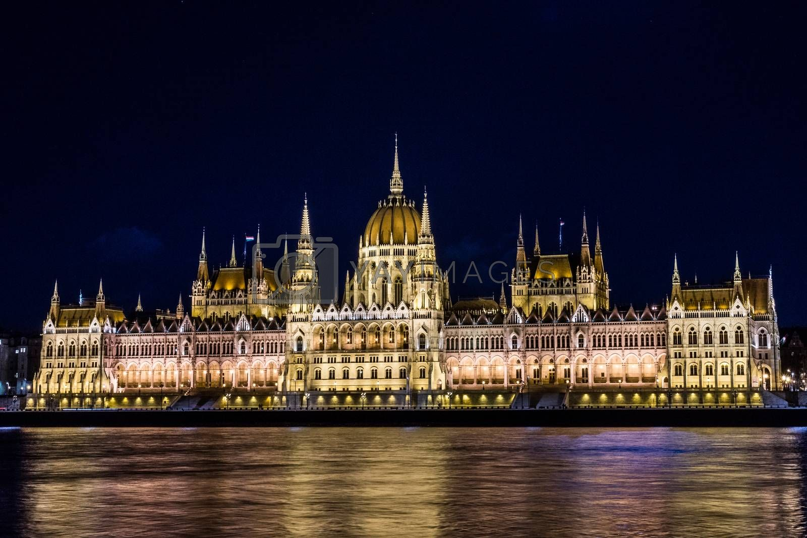 The photo shows the Parliament building in Budapest