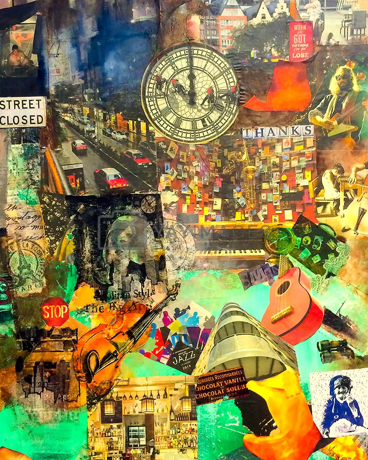 Paper collage painted on canvas with aryl containing elements from the city. Mostly London, Paris, and Bergen.