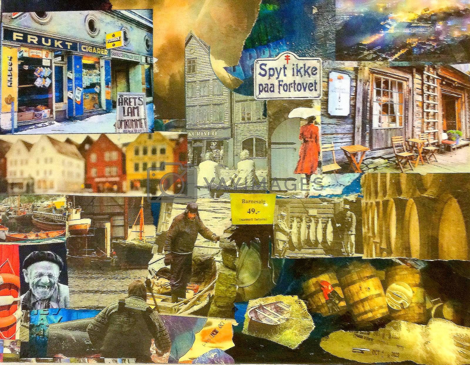 Mixed media art on canvas painted with acryl from Bergen in 1945. Picture from the harbor with fishermen, boats, special characters, Bergen Bryggen, funny signs with misspellings in Norwegian.