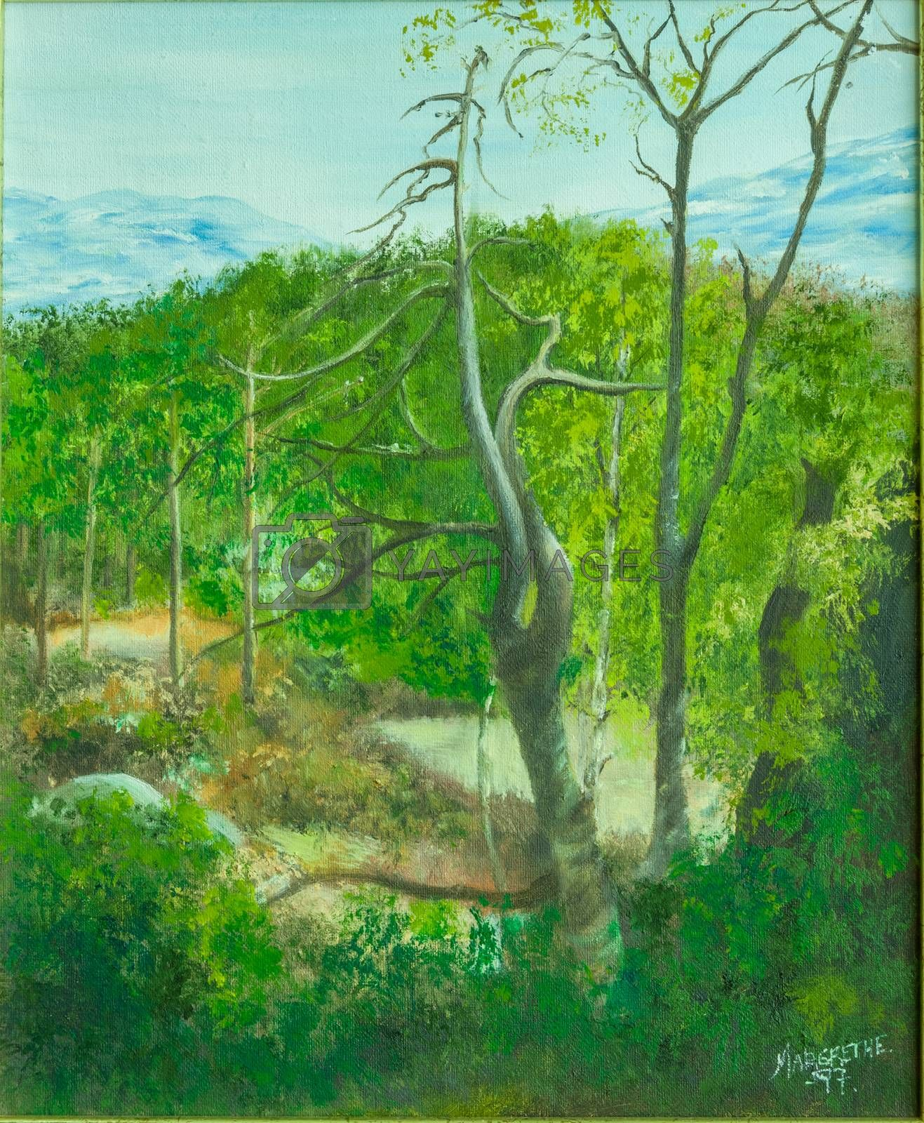 Art painting oil on canvas of summer landscape with old, dead tree in foreground and mountains with snow in background
