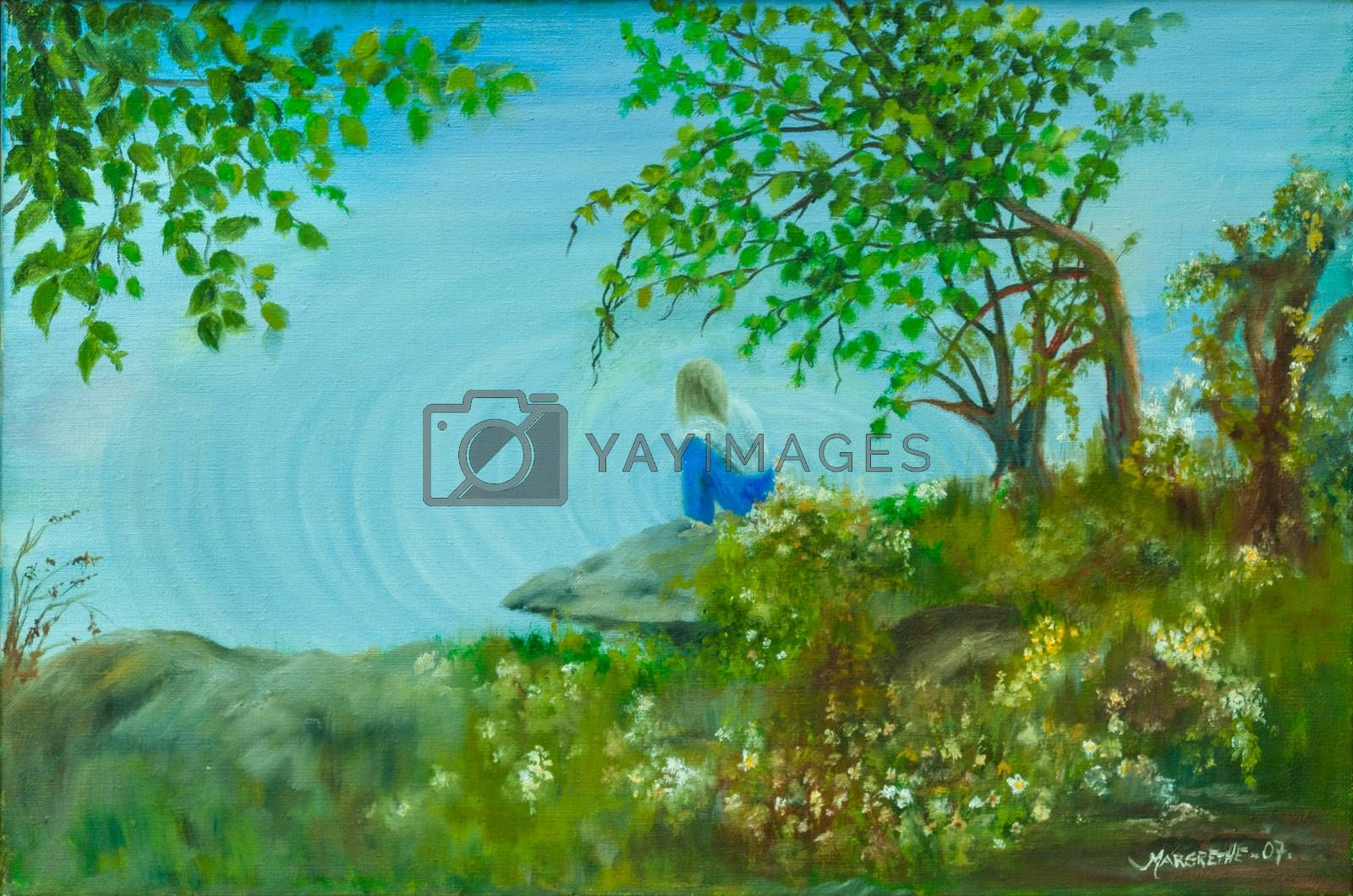 Oil painting on canvas of a lonely girl by the lake