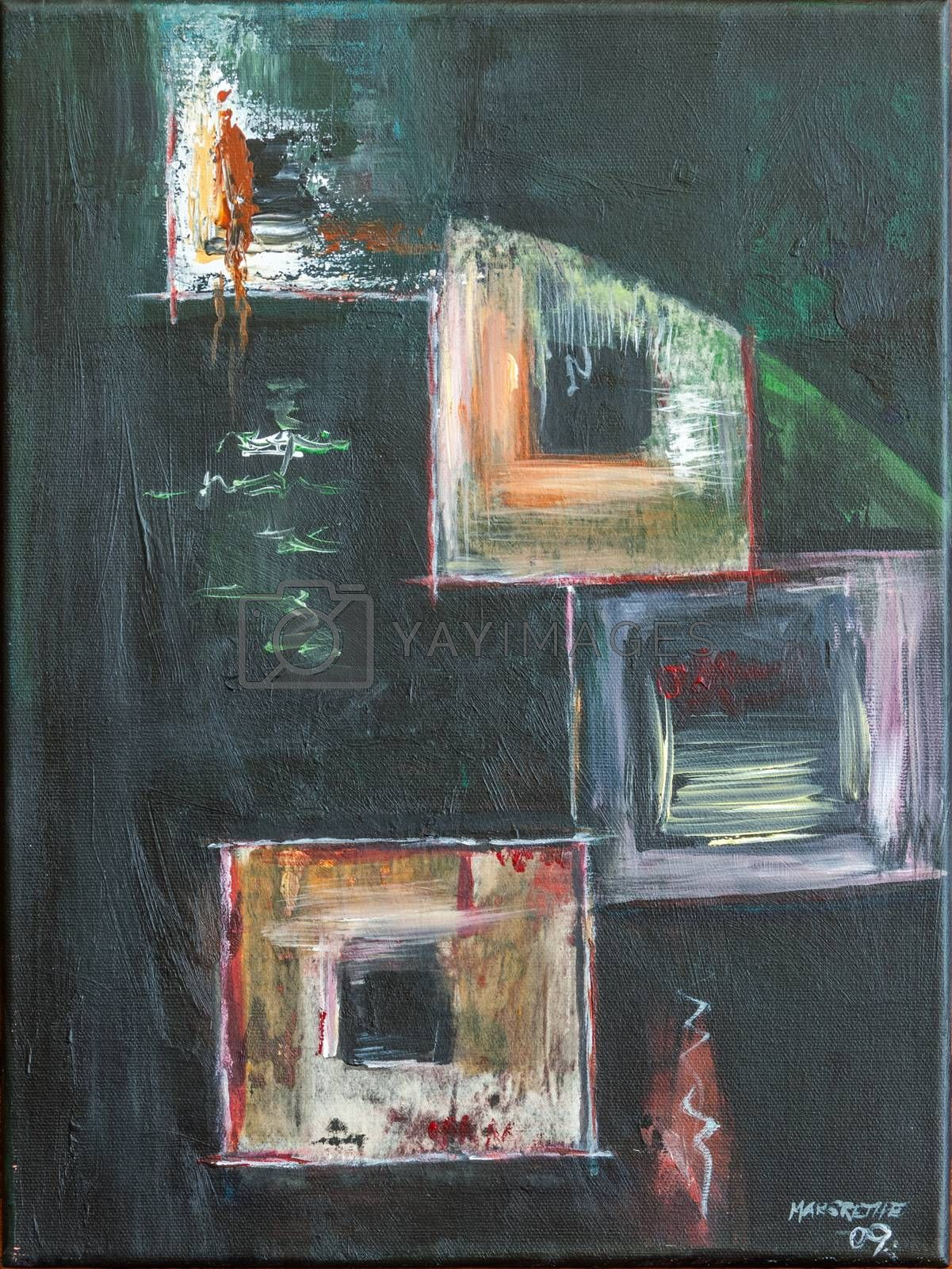 Nonfigurative oil art painting on canvas. Painting inspired by windows in different sizes, forms, and colors.