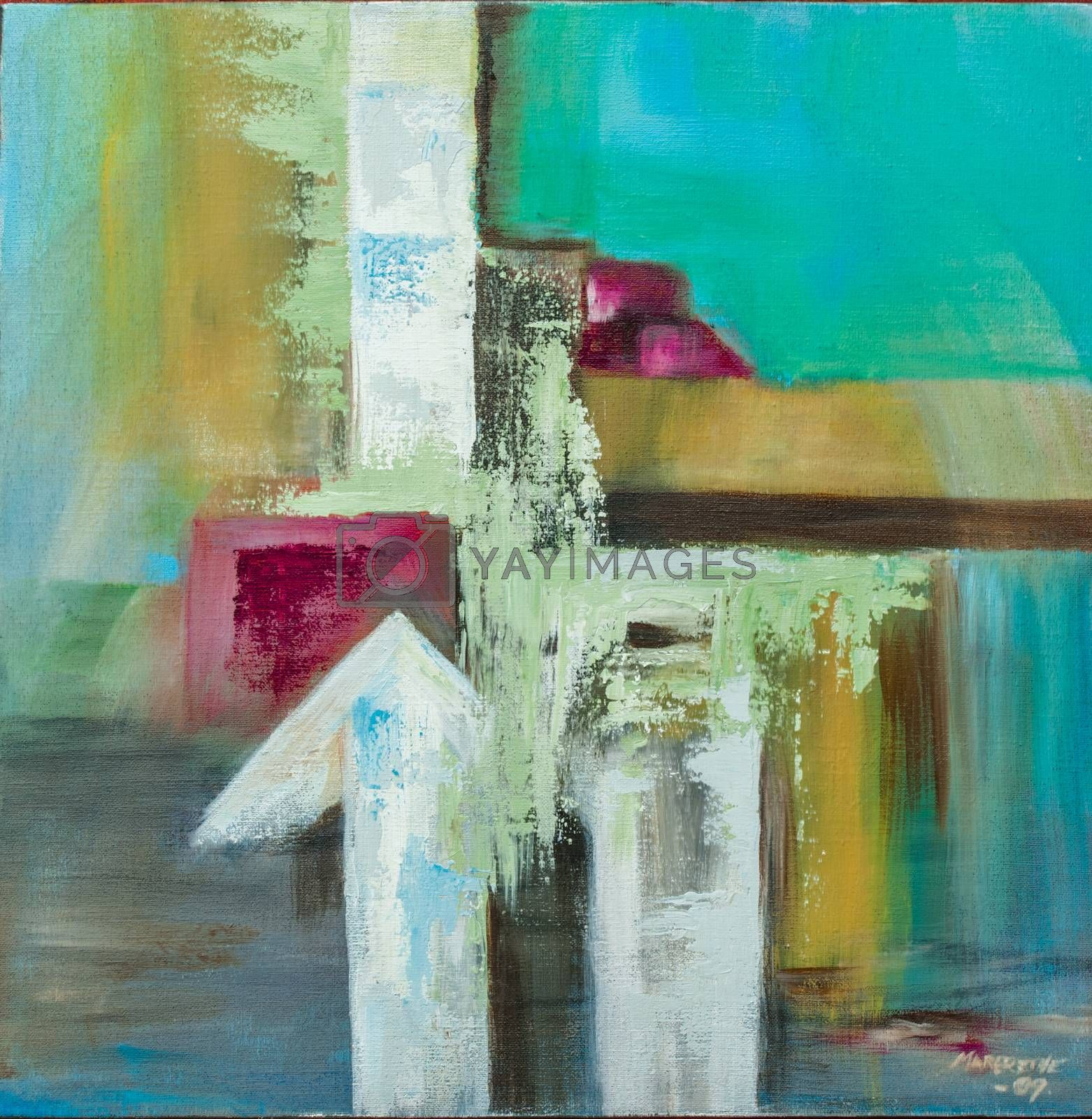 Arrows. Oil painting on canvas, non-figurative.