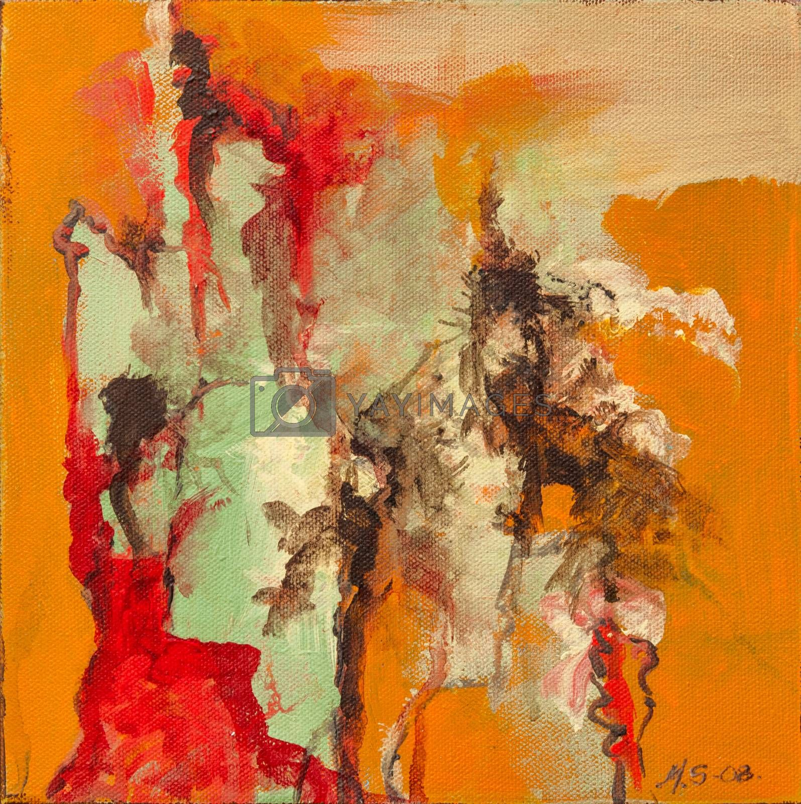 Oil painting on canvas, non-figurative, main color in orange with dark green, red and turquoise