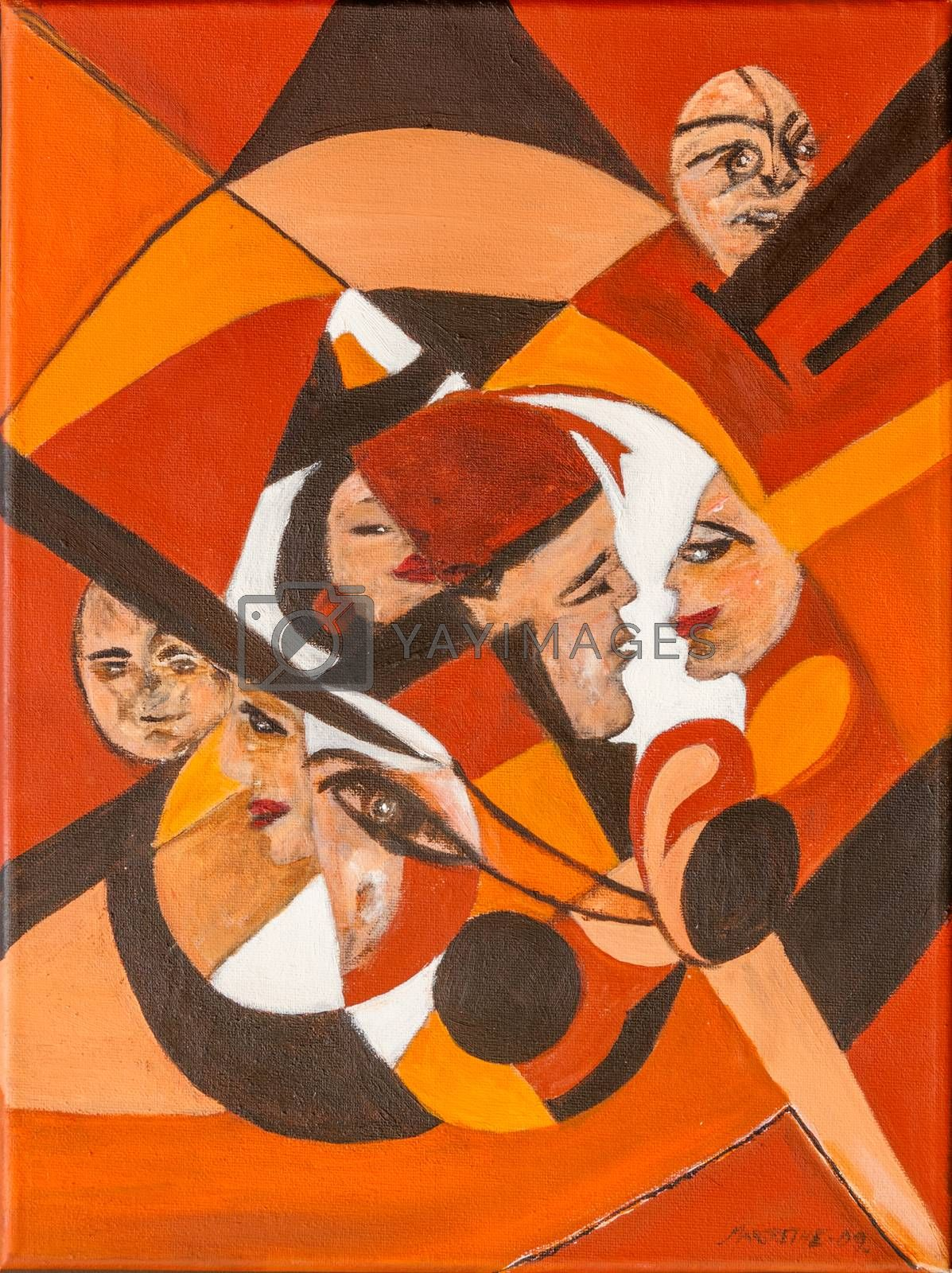 The clown in the circle. Both figurative and non-figurative at the same time. Different clown faces in a circle. A scene from many situations in life.Orange, dark brown, white colors.