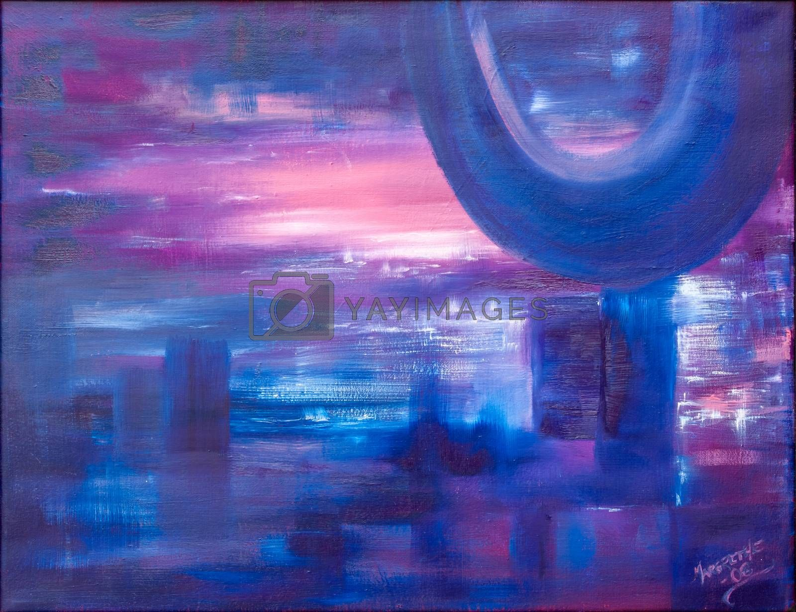 Evening blue, landscape figurative and none figurative. Oil painting on canvas.