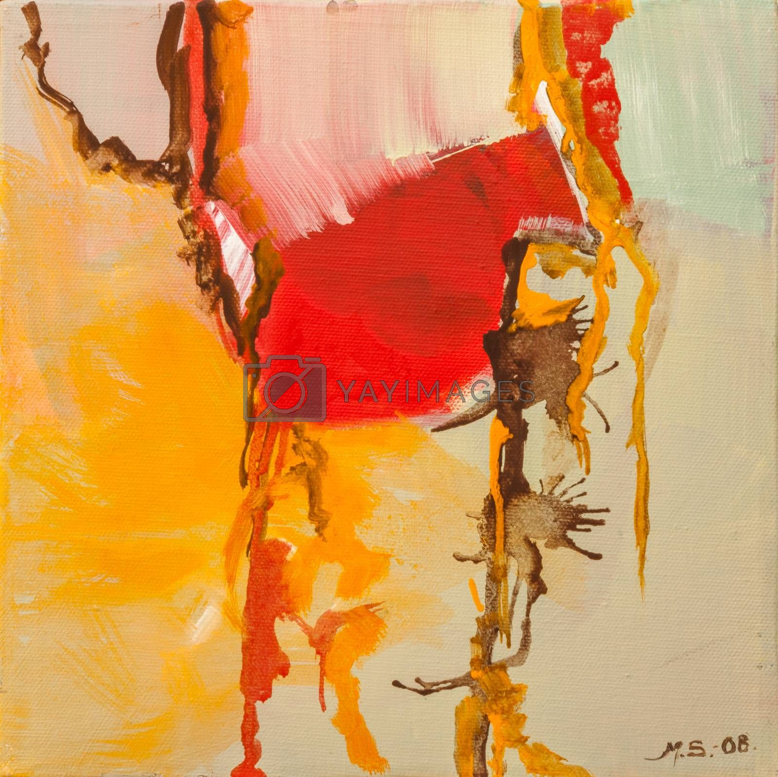 Oil painting on canvas, abstract motive, mixed color,