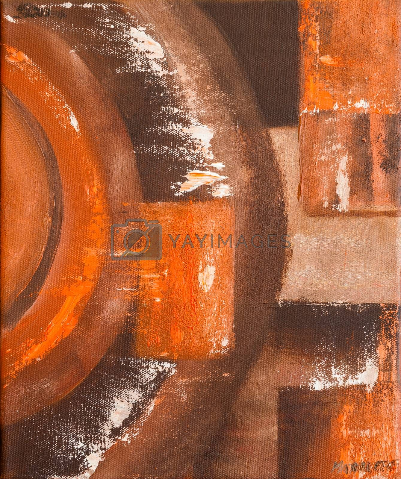 This non-figurative painting is playing with colors and shape. Light and dark. Light brown, dark brown, red and white.