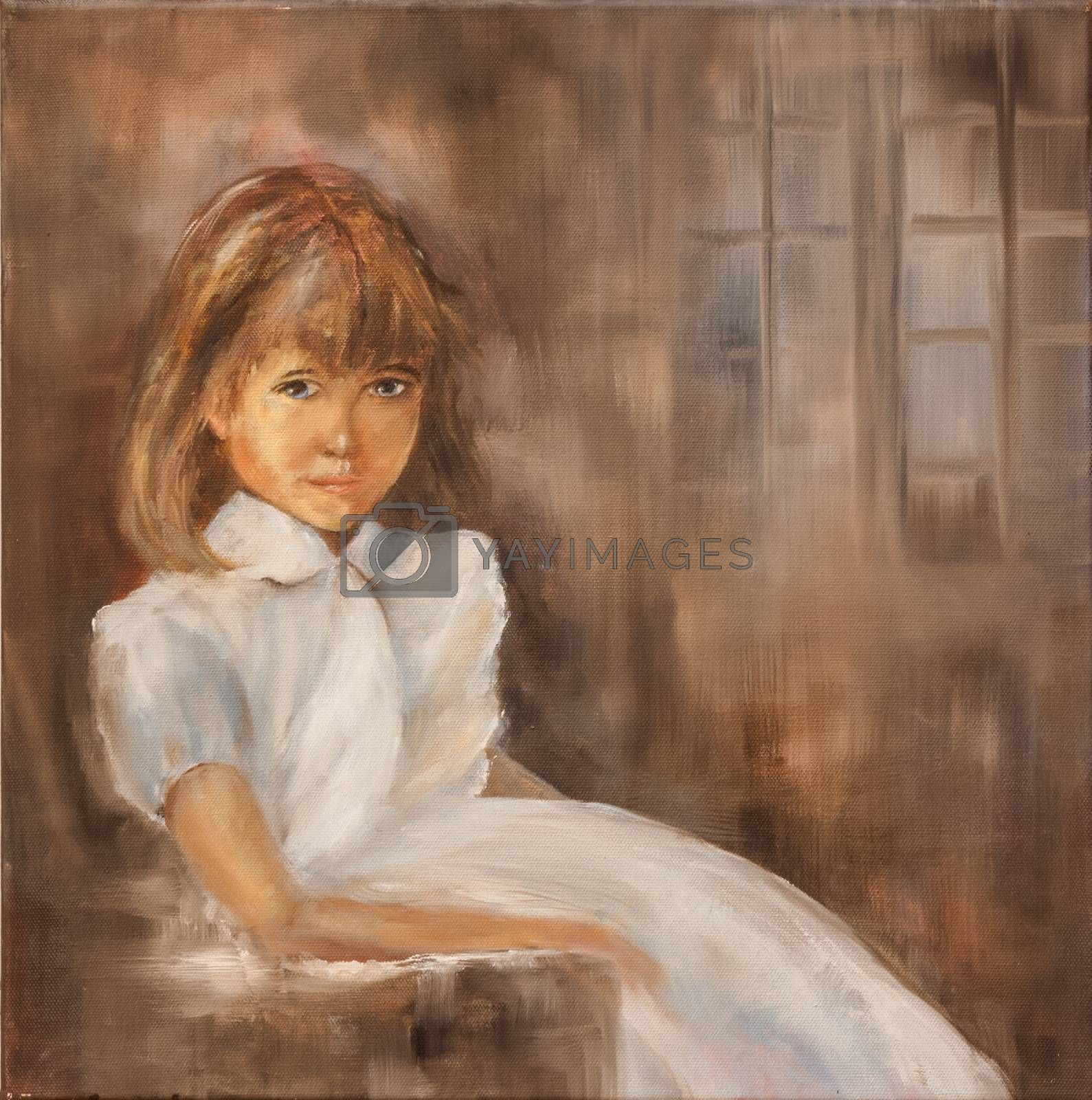Portrait of a young lady. She is sitting in a chair wearing a white dress. Painted with oil on canvas.