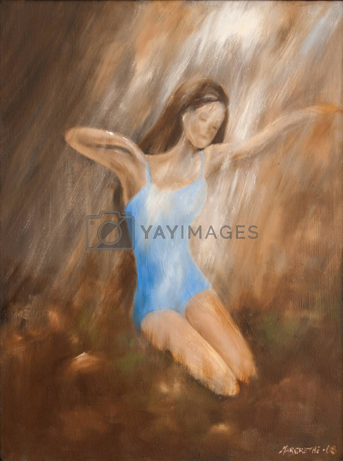 A beach scenery with a young woman in blue bathing suit sunbathing woman. A girl is stretching in the light. Oil painting on canvas. Summer landscape. Painted figurative art with oil on canvas.