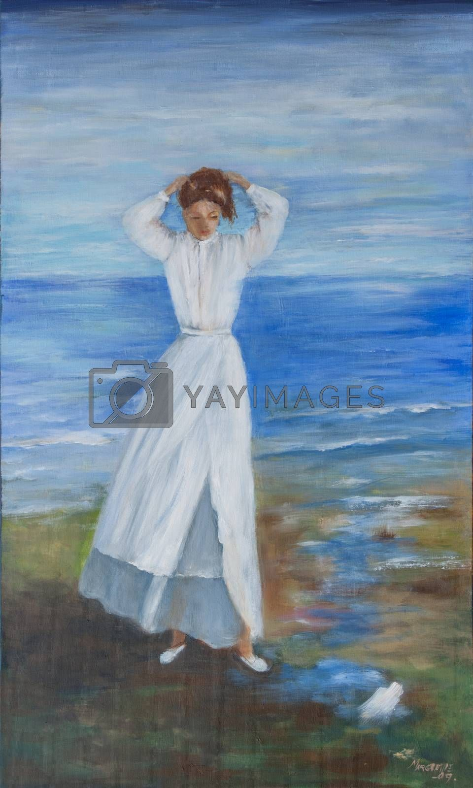The lady from the sea is doing here hair on the beach in Spain. Oil painting on canvas.