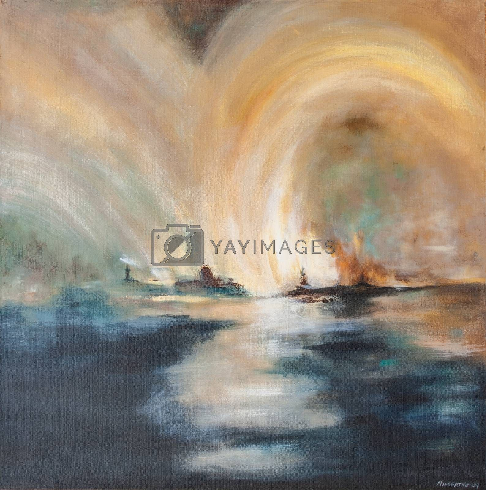 Light over the sea in northern Norway, spectacular view in the north of Norway. Oil painting on canvas. Both figurative and non-figurative.