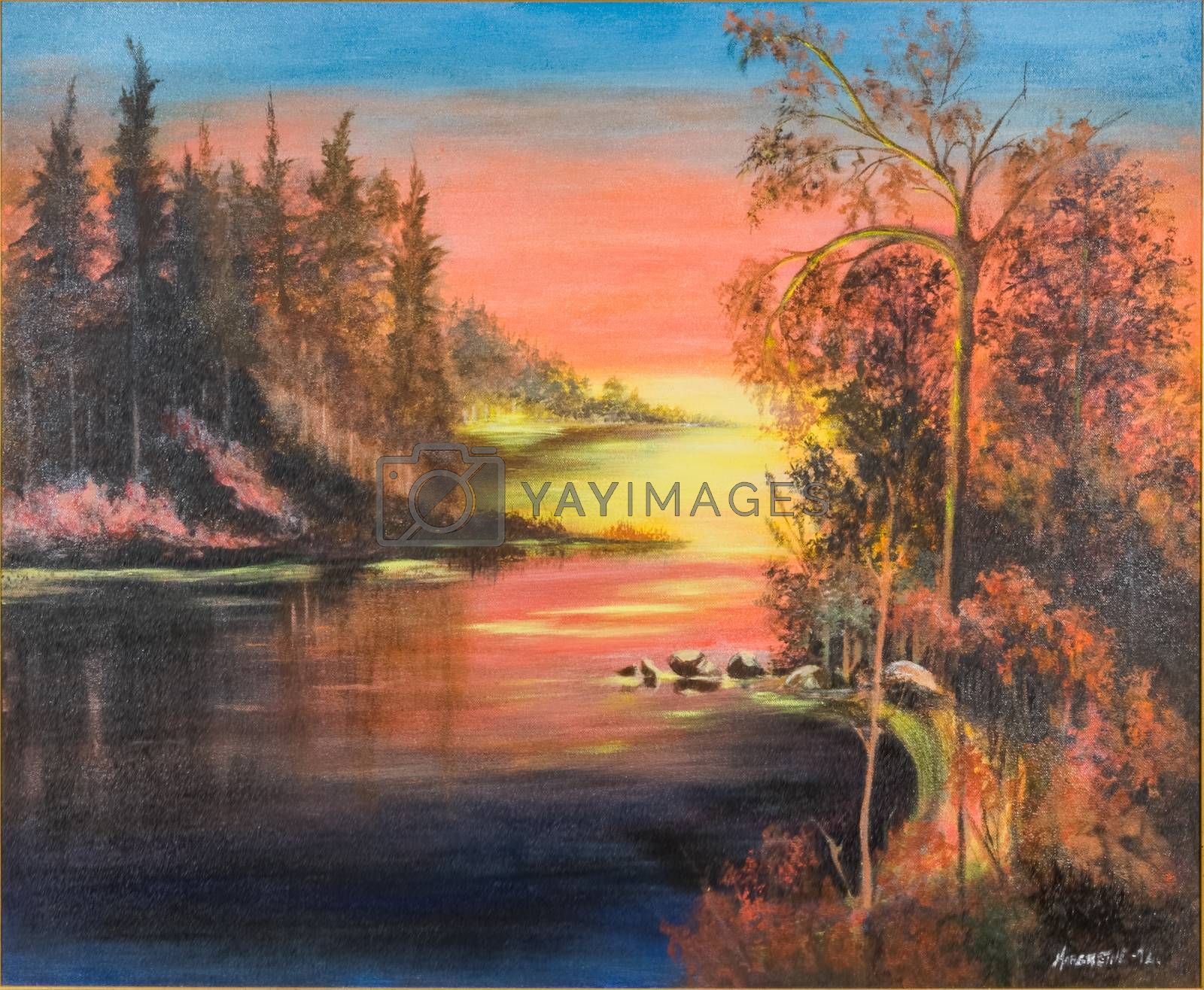 Evening mood with magical lightning at sunset with water and forest. Figurative oil painting on canvas