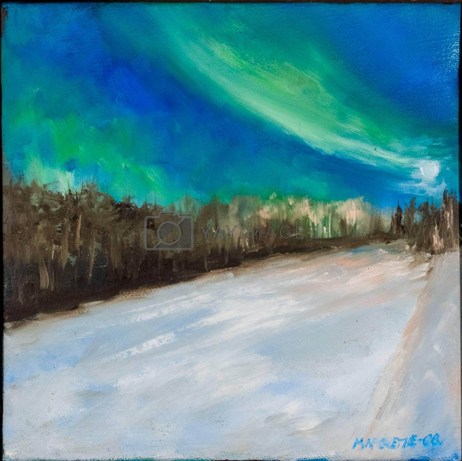 Northern light in Svanvik, Pasvikdalen, Finnmark, Norway. Oil painting based on a photo.
