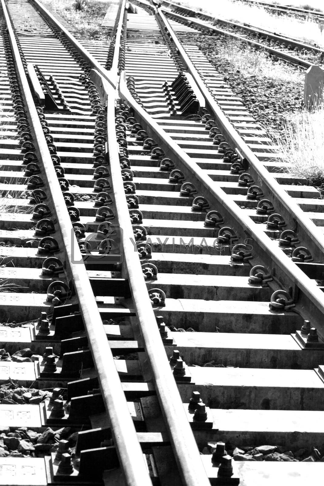Railroad tracks at a train station Thailand.black and white picture