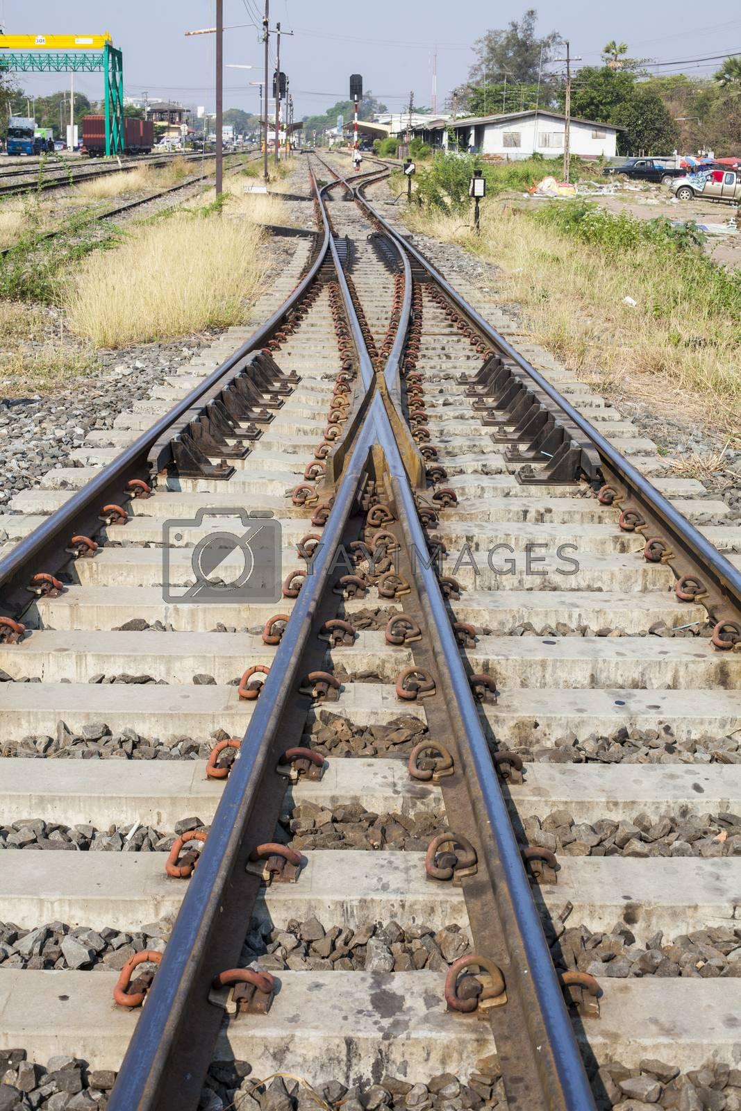 Railroad tracks at a train station