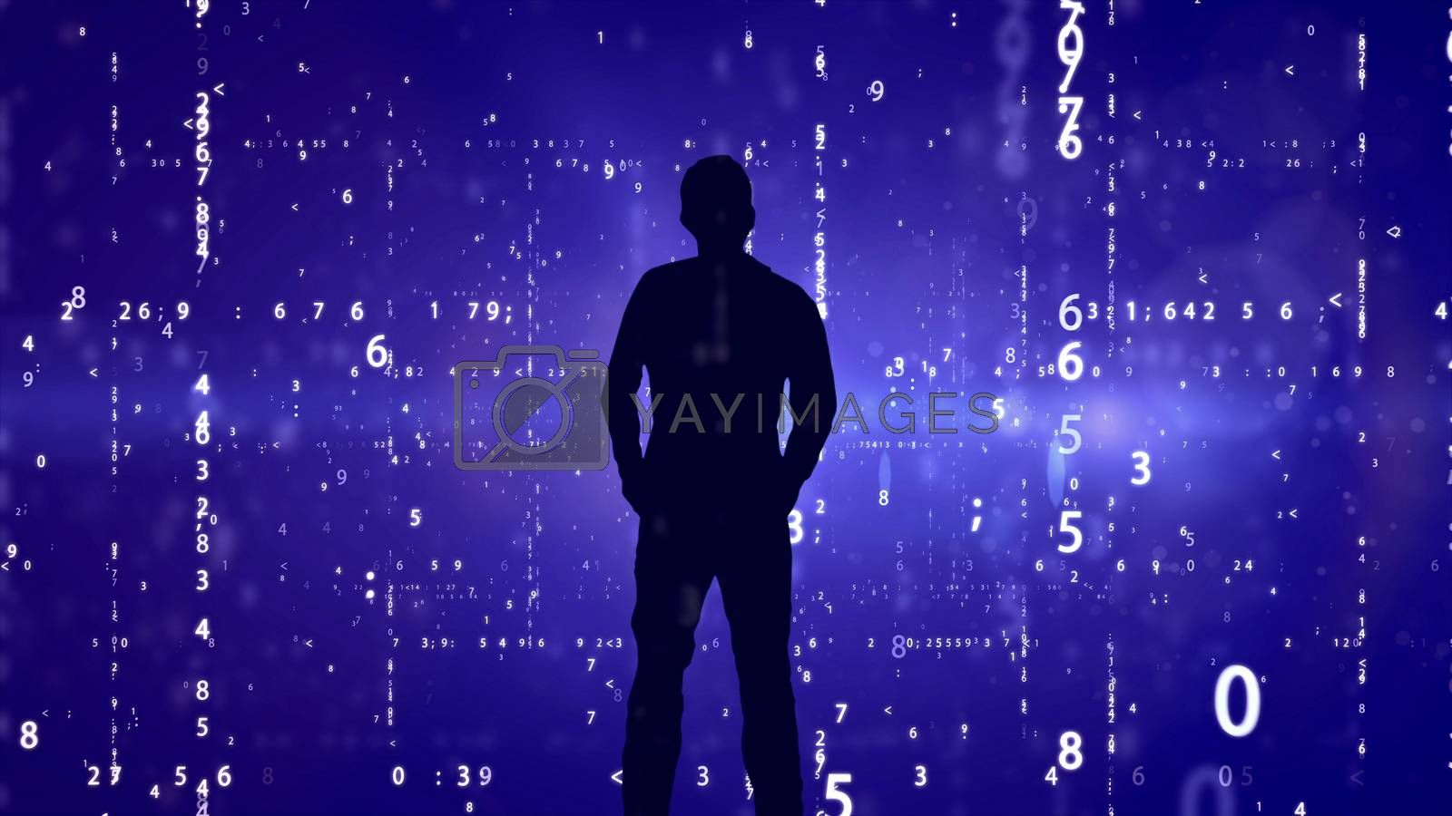 Silhouette of man on matrix effect background.