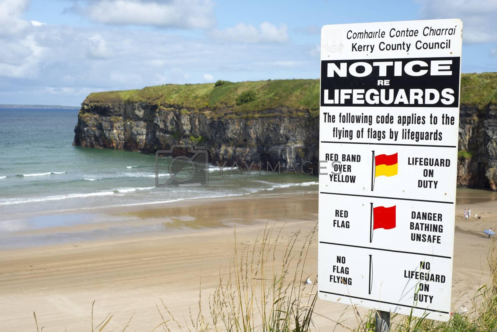 lifeguards notice at ballybunion beach in county kerry ireland on the wild atlantic way