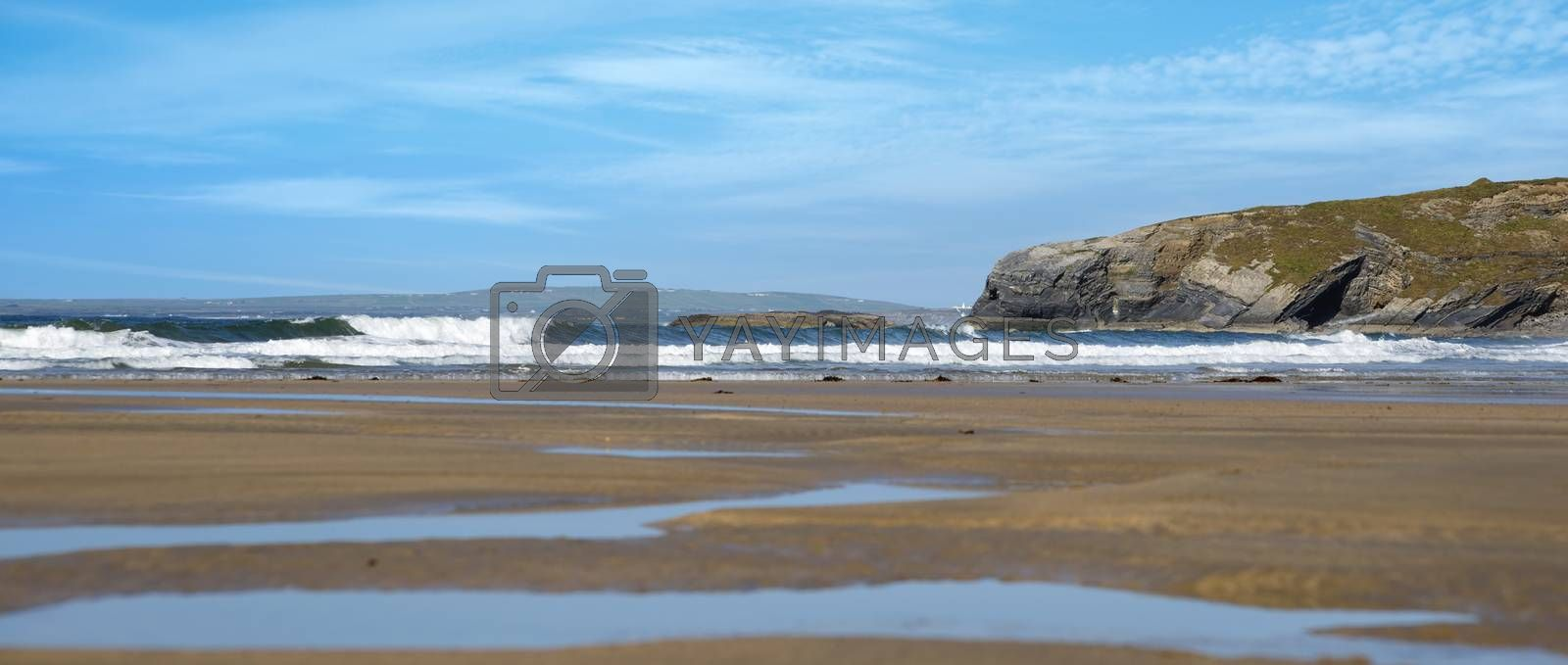 panoramic view of ballybunion beach and cliff by morrbyte