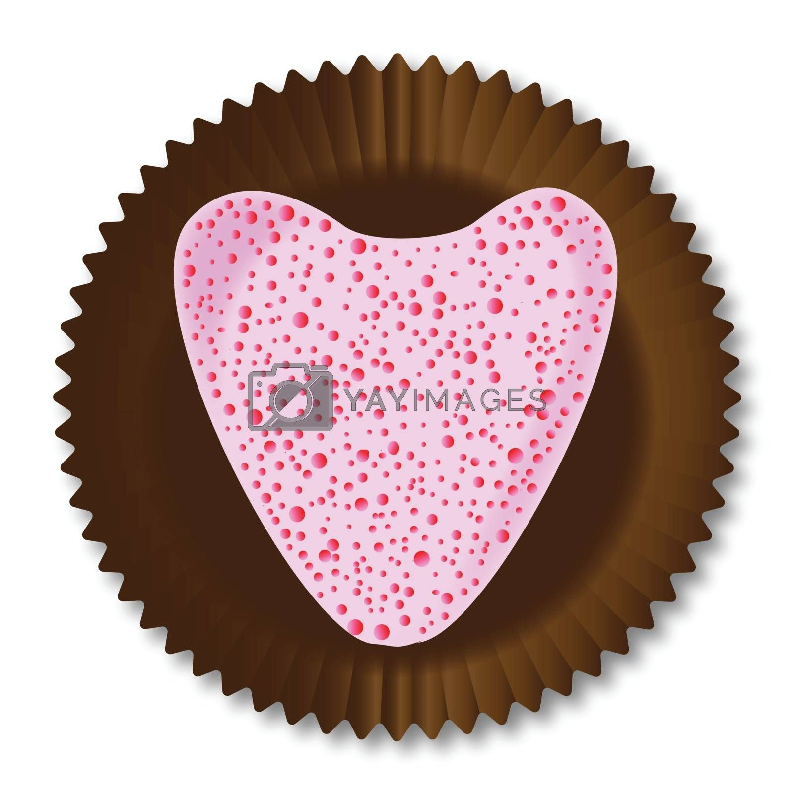 A typical strawberry flavour heart shaped chocolate from a chocolate box selextion over a white background