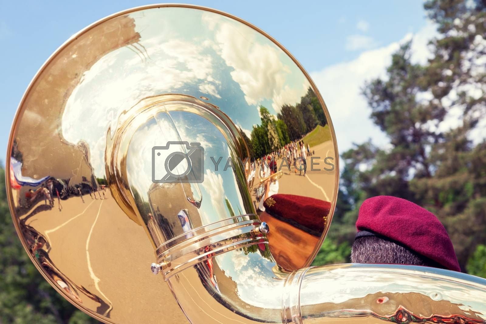 VILNIUS, LITHUANIA - MAY 29, 2016:Detail of sousaphone played by military orchestra shot from behind