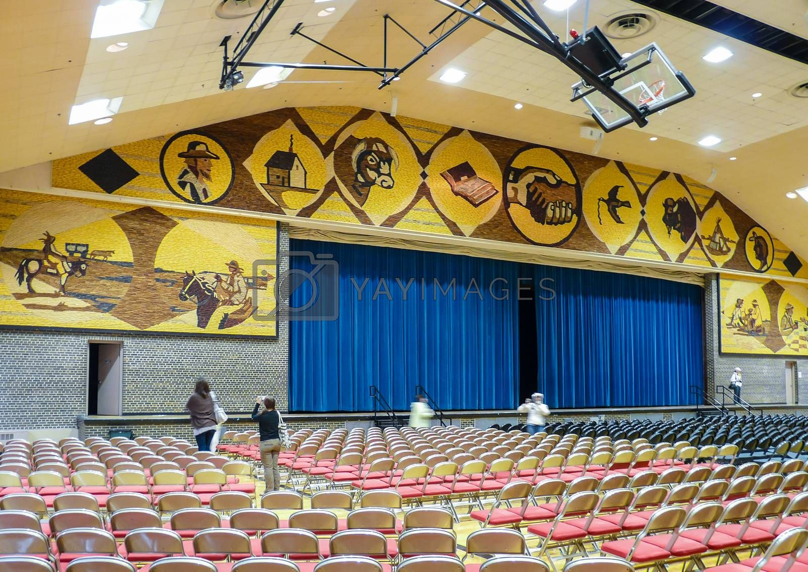 """Mitchell, South Dakota, USA - May 10, 2008: Interior of famous """"The World's Only Corn Palace"""" known widely for its walls covered with corn."""