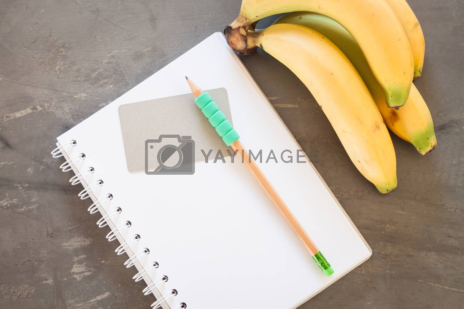 Royalty free image of Shopping list with Healthy fruits by punsayaporn