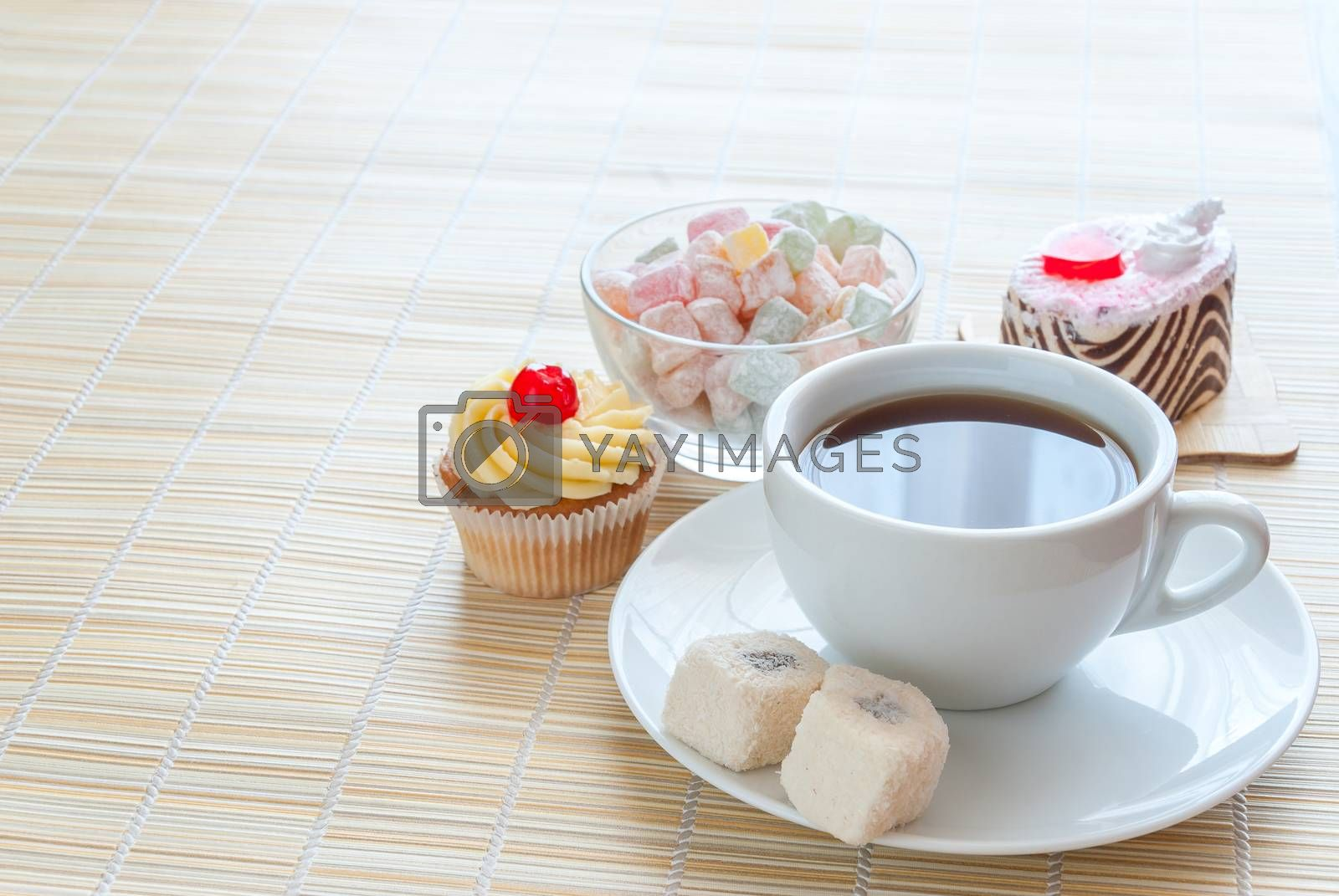 Tea, fresh cherry muffin, colorful delight and various cake, sweet dessert, with place for your text