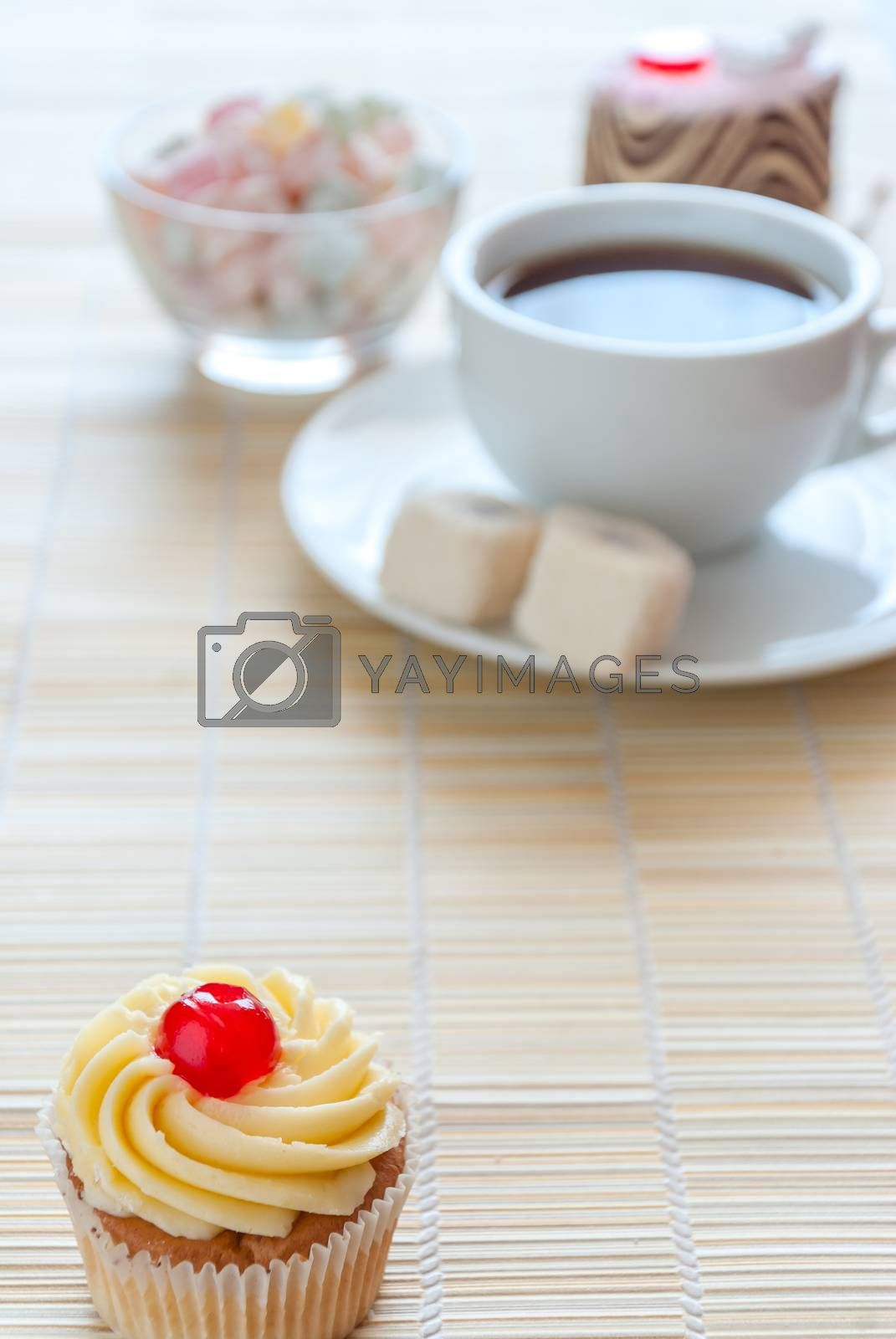 Tea, fresh cherry muffin, colorful delight and various cake, sweet dessert, with place for your text, soft focus