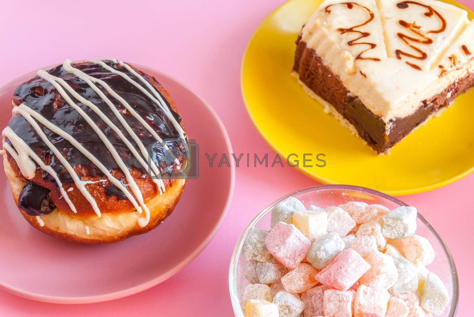 Various tasty sweet dessert for tea and cooffee, close up